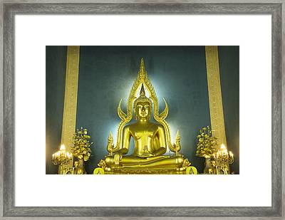 Golden Sitting Buddha Framed Print by Gloria and Richard Maschmeyer