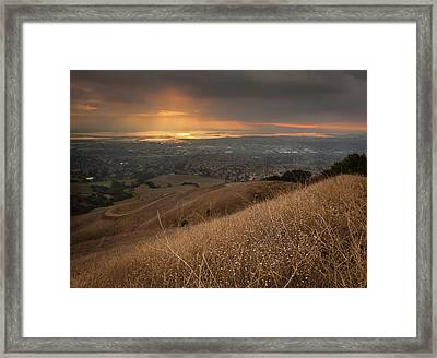 Golden Sunset Over San Francisco Bay Framed Print by Sean Duan