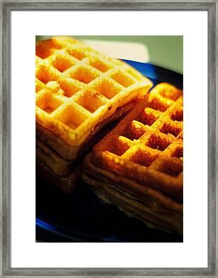 Golden Waffles Framed Print by Rebecca Sherman
