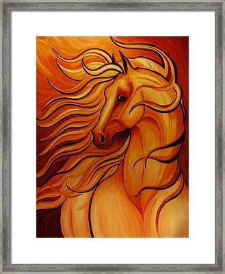 Golden Windblown Horse Framed Print by Leni Tarleton
