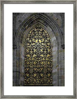 Golden Window - St Vitus Cathedral Prague Framed Print by Christine Till