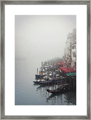 Gondolas On Grand Canal In Fog Framed Print by Silvia Sala