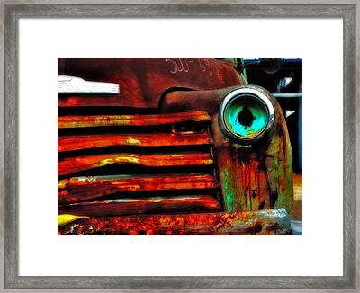Rusty Truck Framed Print by Toni Hopper