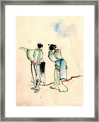 Goodbye Beneath The Crescent Moon 1840 Framed Print by Padre Art