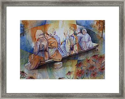Gossip Bench Framed Print by Patsy Sharpe