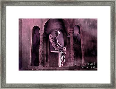 Gothic Fantasy Surreal Angel In Mourning Framed Print by Kathy Fornal