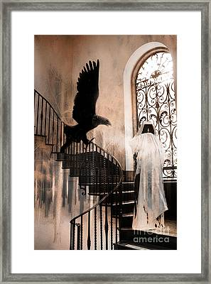 Gothic Surreal Grim Reaper With Large Eagle Framed Print by Kathy Fornal