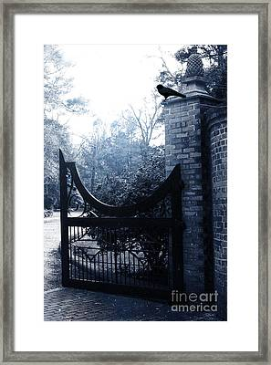 Gothic Surreal Guardian Raven At Black Gate Framed Print by Kathy Fornal