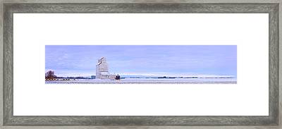 Grain Elevator In Early Winter Field Framed Print by Corey Hochachka