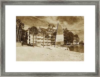 Grand Floridian Resort Beach Walt Disney World Prints Vintage Framed Print by Shawn O'Brien
