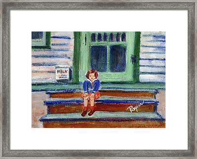 Grandma's Door Steps Framed Print by Elzbieta Zemaitis