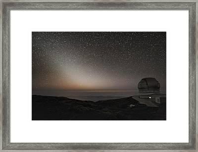 Grantecan Telescope And Zodiacal Light Framed Print by Alex Cherney, Terrastro.com