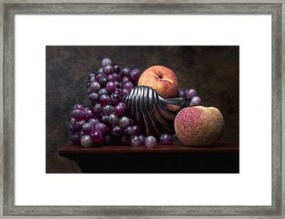 Grapes With Peaches Framed Print by Tom Mc Nemar