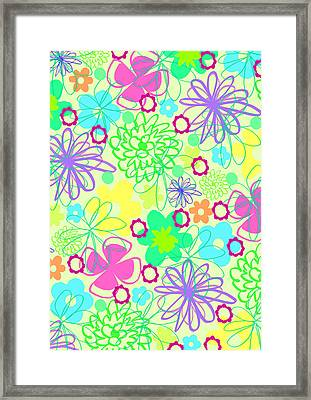 Graphic Flowers Framed Print by Louisa Knight