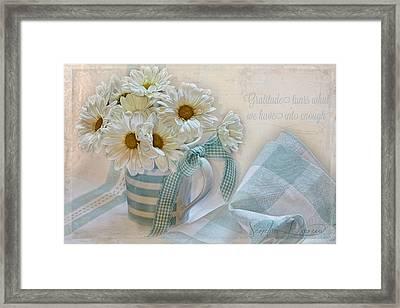 Gratitude Framed Print by Sandra Rossouw