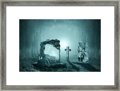 Graves In A Forest Framed Print by Jaroslaw Grudzinski