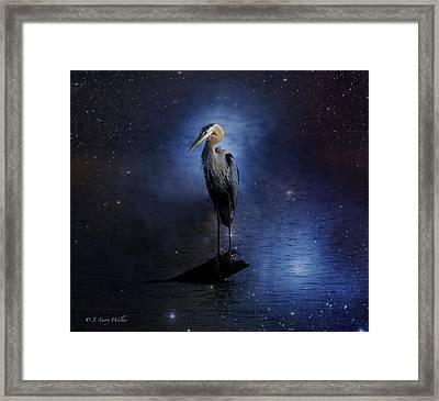 Great Blue Heron On A Starry Night Framed Print by J Larry Walker