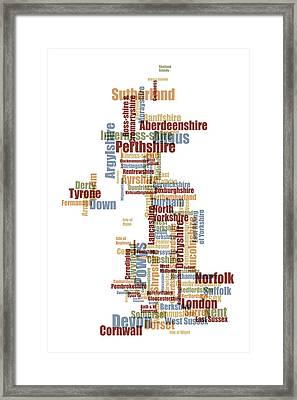 Great Britain Uk County Text Map Framed Print by Michael Tompsett