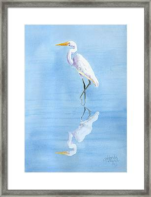 Great Egret In Reflection Framed Print by Arline Wagner