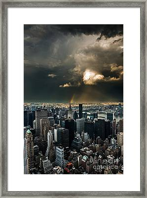 Great Skies Over Manhattan Framed Print by Hannes Cmarits