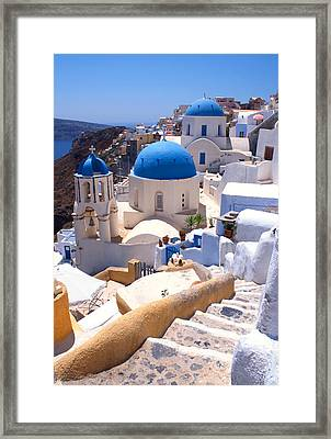 Greek Churches And Steps Framed Print by Paul Cowan