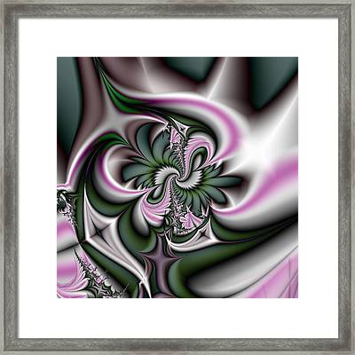 Green And Pink Fractal Framed Print by Gina Lee Manley