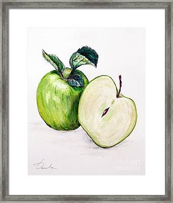 Green Apple Framed Print by Danuta Bennett