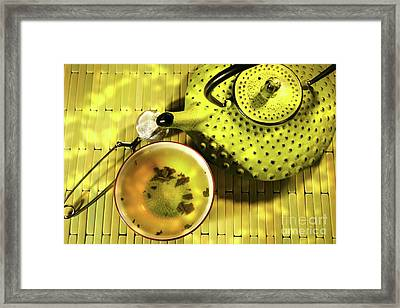 Green Asian Teapot With Cup  Framed Print by Sandra Cunningham