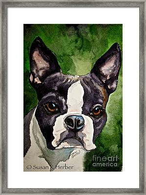 Green Black And White Framed Print by Susan Herber