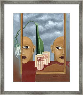 Green Bottle Agony Surrealistic Artwork With Crying Heads Cut Cups Flowing Red Wine Or Blood Frame   Framed Print by Rachel Hershkovitz