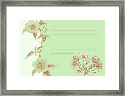 Green Floral Card Framed Print by Dana Vogel