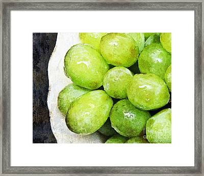Green Grapes On A Plate Framed Print by Andee Design
