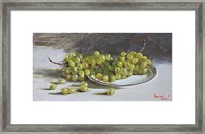 Green Grapes  Framed Print by Ylli Haruni