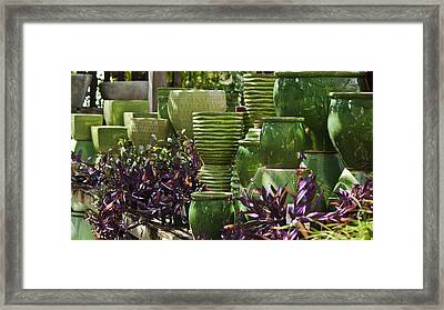 Green Grouping Framed Print by Teresa Mucha