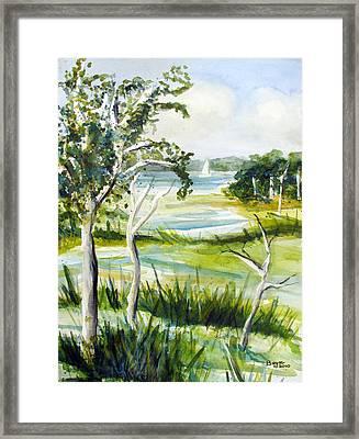 Green Land Framed Print by Clara Sue Beym