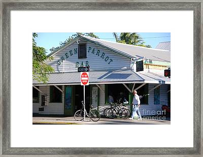 Green Parrot Bar In Key West Framed Print by Susanne Van Hulst