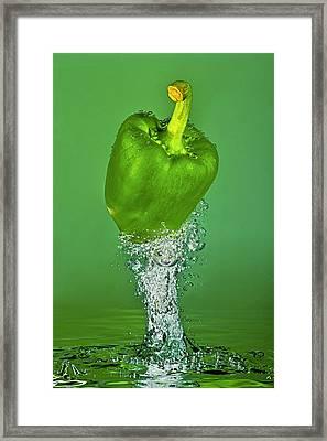 Green Pepper Splash Framed Print by Travel Images Worldwide