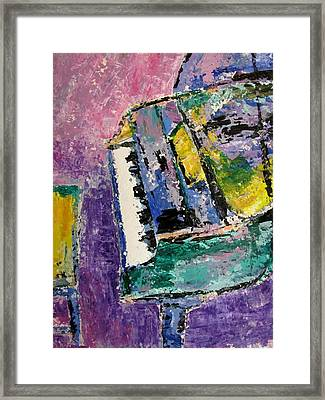 Green Piano Side View Framed Print by Anita Burgermeister