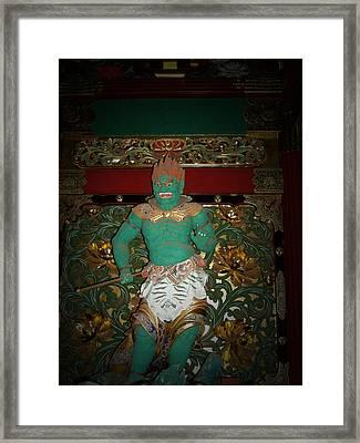 Green Sculpture Framed Print by Naxart Studio