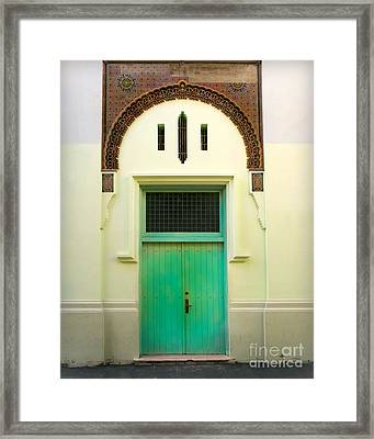 Green Spanish Doors Framed Print by Perry Webster