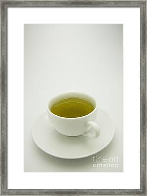 Green Tea In Teacup Framed Print by Thom Gourley/Flatbread Images, LLC