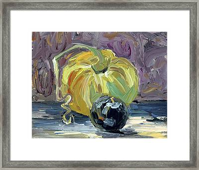 Green Tomato And Plum Framed Print by Scott Bennett