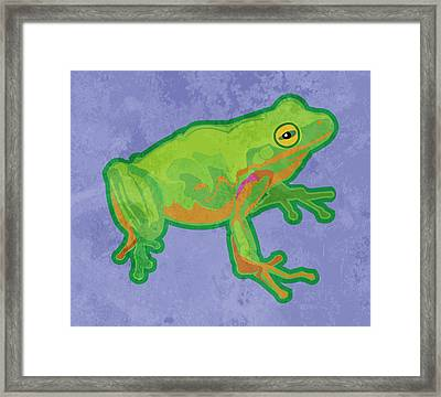 Green Tree Frog Framed Print by Mary Ogle