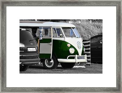 Green Vw Camper Framed Print by Paul Howarth