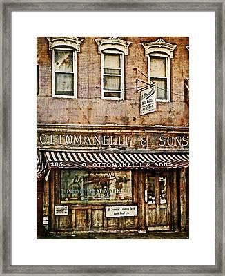 Greenwich Village Meat Market Framed Print by Kathy Jennings