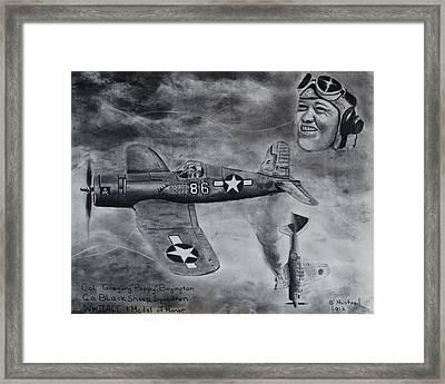 Gregory Pappy Boyington Framed Print by Brian Hustead