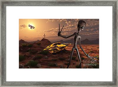 Grey Aliens At The Site Of Their Ufo Framed Print by Mark Stevenson