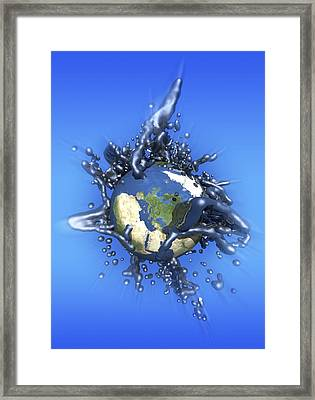 Grey Goo Engulfing Earth, Artwork Framed Print by Victor Habbick Visions