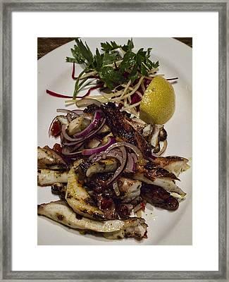 Griiled Fresh Greek Octopus Framed Print by David Smith