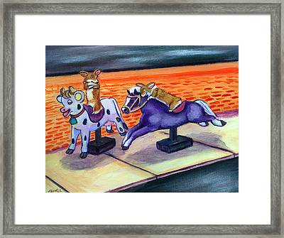 Grocery Store Corgi Rides Framed Print by Lyn Cook